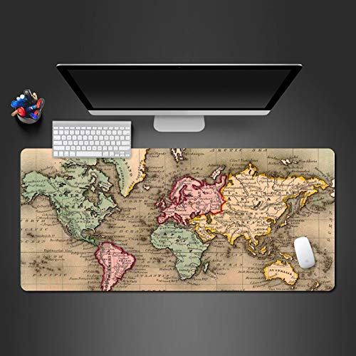 STDNJQ tapete escritorio mousepad Mapa del mundo de color 800x300x3mm/31.5x11.8x0.118 inch bordes cosidos de goma antideslizantes, almohadilla de teclado para computadora portátil, mejora la precisió