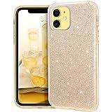 MATEPROX Funda iPhone 11,Glitter Estuche Brillante Antideslizante,Protector Cover para iPhone 11 6.1'-Oro