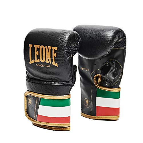 LEONE 1947 格闘技 ボクシング 本革使用 グローブ ユニセックス [ ITALY 47 ] バッググローブ ミット打ち サンドバッグ練習 ベルクロ留め Sサイズ/ブラック GS090 【正規品】
