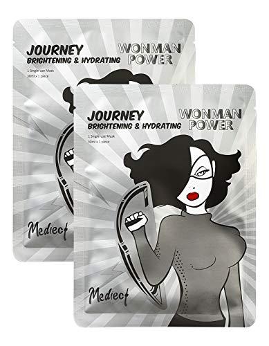 Mediect journey & hydrating Gesichtsmaske, Feuchtigkeitsmaske zur Gesichtspflege, Silbermaske mit Hyaluronsäure und Tiefseewasser 2x30ml
