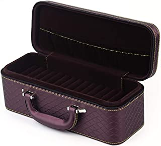 Bangle Storage Box, PU Leather Multi-Function Travel Portable Jewelry Ring Stud Storage Box with 15 Slots,Purple
