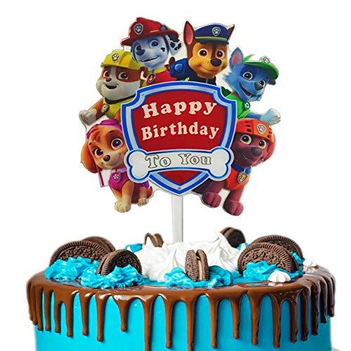 Newmemo Paw Dog Patrol Cake Topper, Acrylic Paw Patrol Happy Birthday Cake Topper Cupcake Topper, Paw Patrol Cake Decoration for Kids Birthday Baby Shower Paw Theme Party Supplies