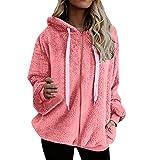 Mujer Sudadera Talla Grande Hoodie Color sólido Sudadera con Capucha Caliente y Esponjoso Tops Chaqueta Suéter Abrigo Jersey Mujer Otoño-Invierno Sweatshirt Tops