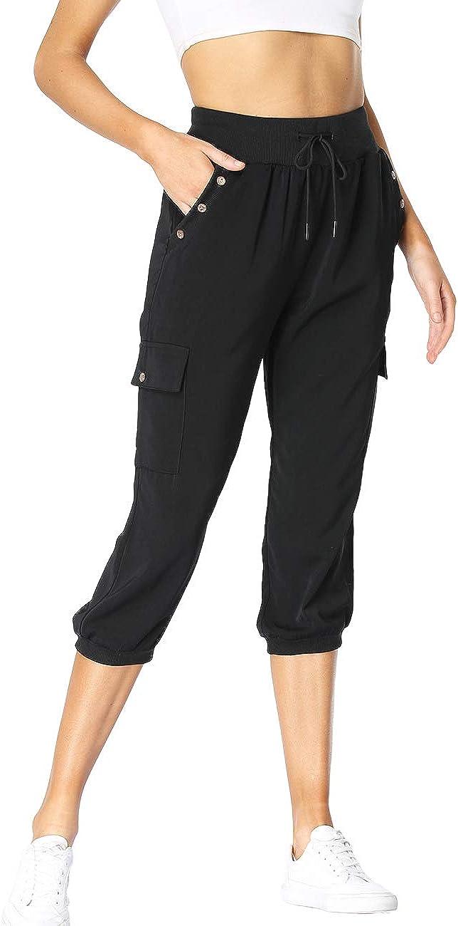 Dilgul Womens Capri Crop Pants Casual Cargo Sweatpants Lounge Loose Fit Drawstring Waist with Pockets