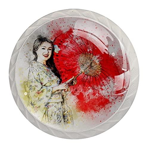 Manopola per cassetto Maniglione 4 pezzi Il cassetto dell'armadio in cristallo tira le manopole dell'armadio,Ragazza giapponese