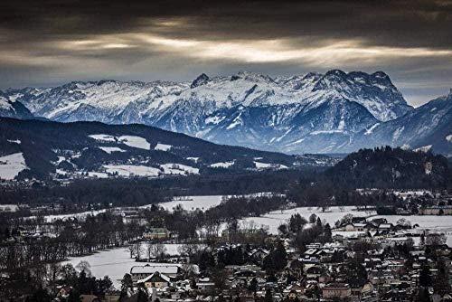 Lo scenario delle Alpi vicino a Salisburgo è coperto di neve. Strumenti di pittura per bambini. Diversi dipinti di paesaggi in base al numero di dipinti. Adatto ai principianti. Di-No Frame-40X50CM