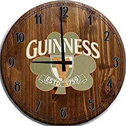 Mnk Large Wall Clock 24 Inch Guinness Irish Beer Wall Clock Bar Sign Home Décor Brown Wall Decor