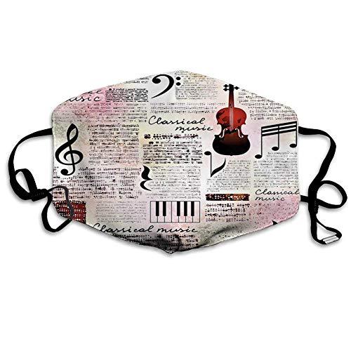 Bequeme Winddichte Maske, altes Zeitungsdekor, Klassische Musik Themeninstrumente Klavier Violin Noten Symbole, Rubin Hellrosa Schwarz