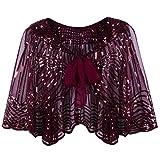 VIJIV Women's 1920s Flapper Shawl Jackets Sequin Bolero Shrugs Vintage Style Gatsby Evening Cape for Weddings Red