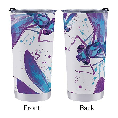 Stainless Steel Tumbler Travel Mug,Car Coffee Cup with Lid,Watercolor Blue-purple Dragonfly,for Home Office Outdoor,for Men/Women 20oz 6.9×3.4Inches