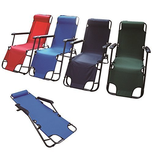 Gr8 Garden Adjustable Metal Folding Chair Recliner Deck Camping Sun Bed Lounger Garden Pool Patio Seat Foldable Furniture (Blue)