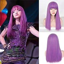 Blue Bird Película The Descendants Mal Cosplay pelucas larga seda recta púrpura mezclado azul cabello con flequillo peluca sintética de anime para mujer fiesta de Halloween Show