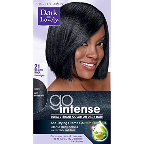 SoftSheen-Carson Dark and Lovely Go Intense Ultra Vibrant Hair Color on Dark Hair, Original Black 21 (Packaging May Vary)