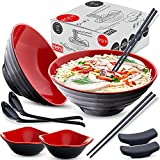 Ramen Bowl (12 pieces) Melamine Large Ramen Noodle Bowls and Spoons Set for Noodles, 37 oz, Japanese, Korean, Chinese or Pho Soup with Chopsticks Stands and Small Side Sauce Bowls Dinnerware (Red)