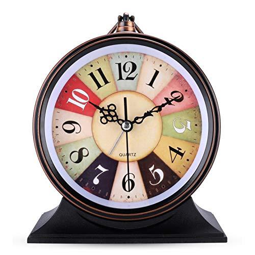 Lafocuse 13cm Despertador Arco Iris Analógico Esfera Grande con Anillo Colgante Reloj de Mesa Retro Silencioso para Mesilla Dormitorio