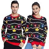Freshhoodies Unisex Estrella con Luces Suéter de Navidad con lámpara LED Sudadera de Punto Divertida para Navidad Jerséis XXL