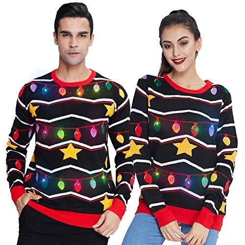 Freshhoodies Ugly Christmas Sweater Strickmuster Bunt Weihnachtspullover Mit Beleuchtung Herbst Winter Lange Ärmel Neuheit String Licht Weihnachtspulli Hässliche Pulli XXL