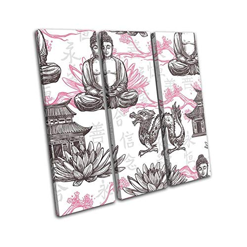 3 Pieces Of Canvas Painting Buddhism Hamsa Fatima Vintage Religion Picture Living Room Wall Painting Modern Print Canvas Painting Home Decoration Mural Art-Gift-Frame:Set Of 3 Canvas Wall Art 50X70x3
