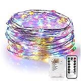 Guirlande Lumineuse 10M 100 LED avec Télécommande Fil cuivre 8 Mode,Décoration Chambre/Maison,Festival Noël/Anniversaire...