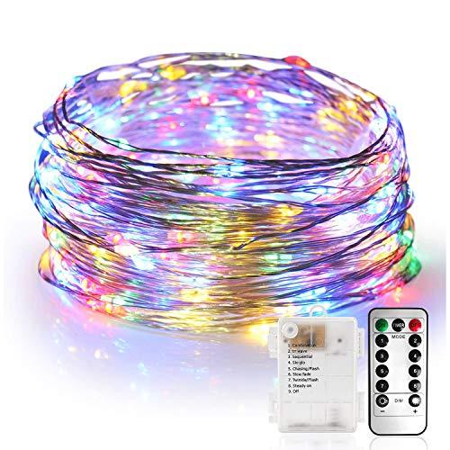 Stringa Luci 10M 100 LED Catena Luminosa Impermeabile Filo d'Argento di 8 Modalità di Luci con Telecomando per Illuminazione Fai da Te, Feste, Casa, stanza, Giardino, Matrimoni ecc (Multicolore)