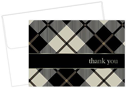 Great Papers 2013037 Dankeskarte mit Umschlag, 12 x 9,5 cm Black Plaid with Gold Foil schwarz