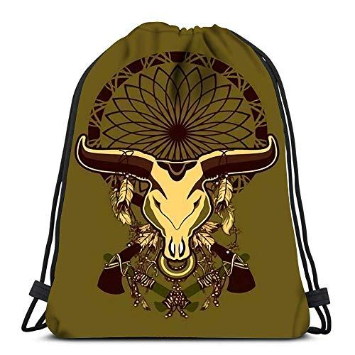 not applicable Rucksack-Taschen Sport Cinch Schädel Bull mit Langen Hörnern In Der Traumfänger und Schamanismus Attribute String Rucksack Bulk-Speicher-Beutel für Schule Gym