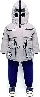 Winter Funny Children's Down Jacket, 2019 Winter New Boys and Girls Short Thick White Duck Down Children's Jacket,White,160
