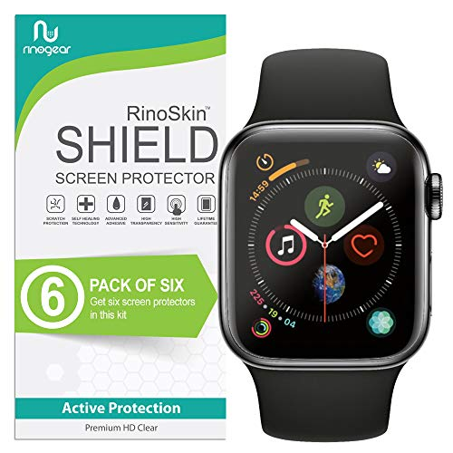 (6-Pack) Apple Watch 44mm Screen Protector (Series 6 5 4 SE) RinoGear Case Friendly iWatch Screen Protector for Apple Watch Series 6, 5, 4, SE 44mm Accessory Full Coverage Clear Film