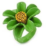 Verde/Amarillo de margaritas de piel Anillo - 35 mm D - ajustable