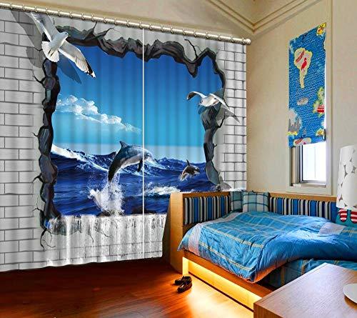 Cortina Opaca 3D de Aislamiento térmico Delfín Azul Decoración Navi