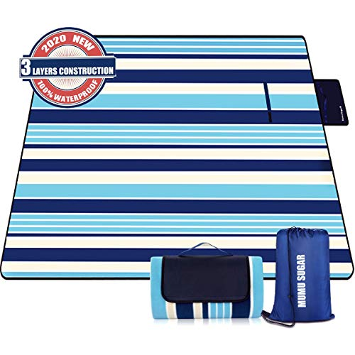 Mumu Sugar Outdoor Picnic Blanket, 3-Layer Extra Large (80'x80') Waterproof Foldable Picnic Mat - Beach Blanket Sand...