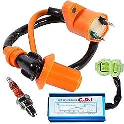 IC2 ATA 125 A1 UMPARTS 2 wire pin Black ignition coil Spark plug parts for TaoTao youth KIDS ATV 4 Quad Wheeler 125cc Tao Tao ATA-125A1 ATA-125-A1 ATA125A1