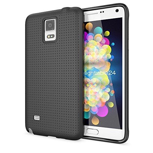 NALIA Handyhülle kompatibel mit Samsung Galaxy Note 4, Ultra-Slim Case Hülle Soft Punkte Schutzhülle Dünn, Etui Handy-Tasche Schale Back-Cover Bumper TPU Smart-Phone Silikon-Hülle - Mesh Schwarz