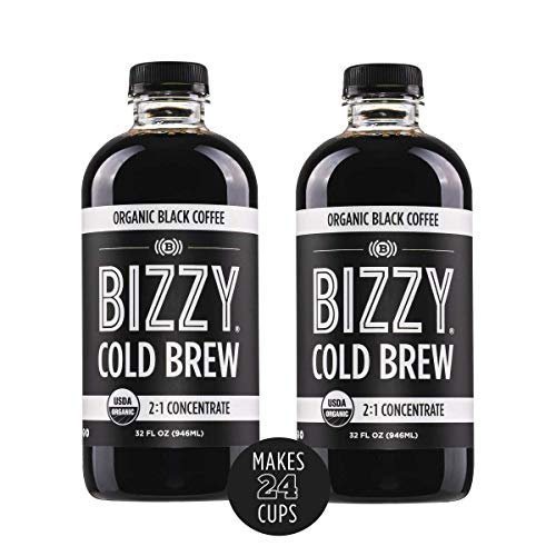 Bizzy Organic Cold Brew Coffee | Concentrate | Makes 24 Cups, 32 Fl Oz (Pack of 2)