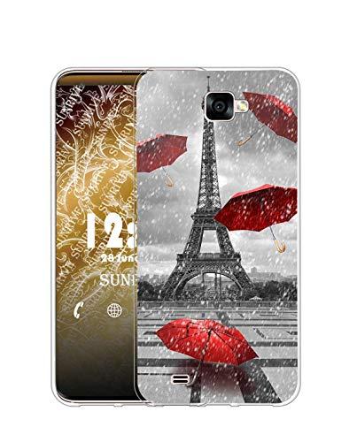 Sunrive Cover Compatibile con Samsung Galaxy J5 Prime, Custodia Case in Molle Trasparente Silicone Morbida Flessibile AntiGraffio Protettiva Back custodie(Q Torre di Ferro)