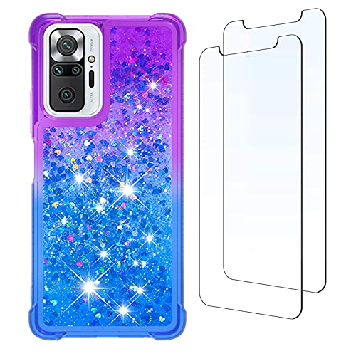 para Redmi Note 10 Pro Funda y [2 Pack] Protector de Pantalla, Glitter Liquida Purpurina Transparente Carcasa Brillante Arena Movediza Cover para Xiaomi Redmi Note 10 Pro (Púrpura/Azul)