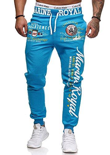 Jogginghose Herren lang | Trainingshose Baumwolle | Sporthose mit Bündchen | Enger Beinabschluss | Marine 5258 (L, Türkis)