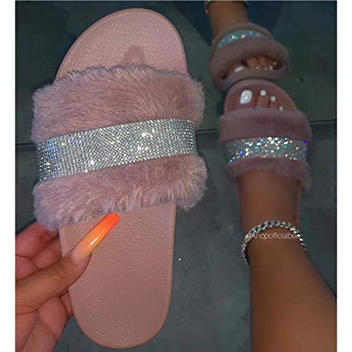 Zapatillas de Moda Zapatillas de Mujer Zapatillas de Mujer Zapatos con Purpurina Mujer Zapatillas de Mujer Planas Casuales-Pink_38