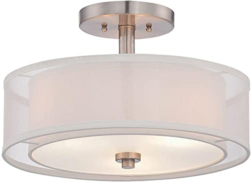 discount Minka Lavery 4107-84 Parsons Studio - 3 Light Semi-Flush Mount in Transitional Style - 10 2021 inches Tall by online 15 inches Wide, Brushed Nickel Finish with Translucent Silver Linen/Off-White Linen Shade sale