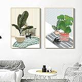 VCFHGVG Cuadro Abstracto de Lienzo de Planta y Flor, póster Minimalista nórdico e impresión, Foto de Arte de Pared en Maceta para habitación, cafetería, decoración 40x60cmx2