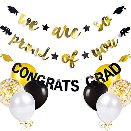 pinkblume 2021 Graduation Party Decorations, We are So Proud of You Congrats Grad Graduation Banner with Graduation Cap Diploma Star Garland for Congratulations Grad Party Supplies(Black and Gold)