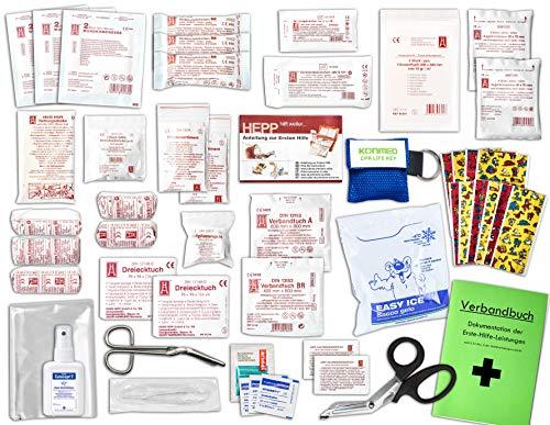 Komplett-Set Erste-Hilfe KITA PLUS 2 DIN/EN 13157 für Betriebe inkl. Hände-Antisept-Spray & Notfallbeatmungshilfe