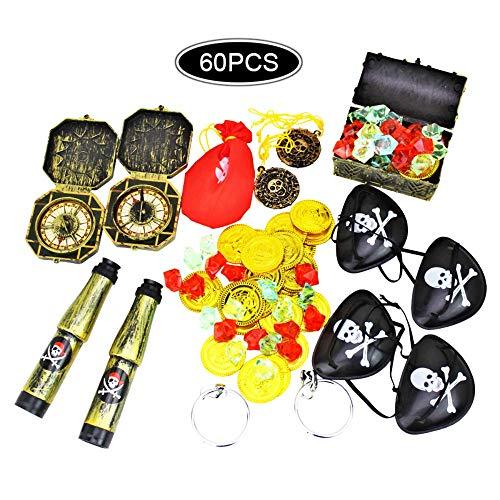 mciskin Piraten-Partybedarf und Piratenbevorzugungs-Spielzeugbündel. 60-teiliges Komplettset mit Piraten-Schatzkiste, Münzen, Teleskopen, Augenklappen, Kompass-Edelsteinen und Ohrringen