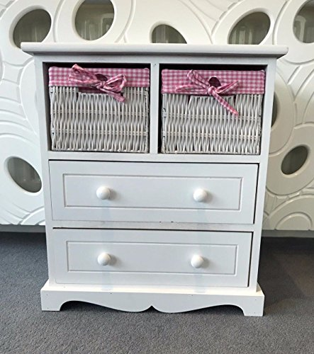 Home Delights Shabby Chic Princess Girls Bedroom Chest Of Draws With Wicker Baskets Kids Room