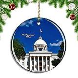 Weekino Estados Unidos América Montgomery Alabama Capitol Building Decoración de Navidad �rbol de Navidad Adorno Colgante Ciudad Viaje Colección de Recuerdos Porcelana 2.85 Pulgadas