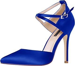 ERIJUNOR Women High Heel Ankle Strap Satin Dress Pumps...