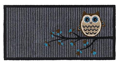 Bavaria Home Style Collection Fußmatte Fußabtreter Schmutzmatte Motiv Design Eule OWL - grau - Größe 40 x 80 cm