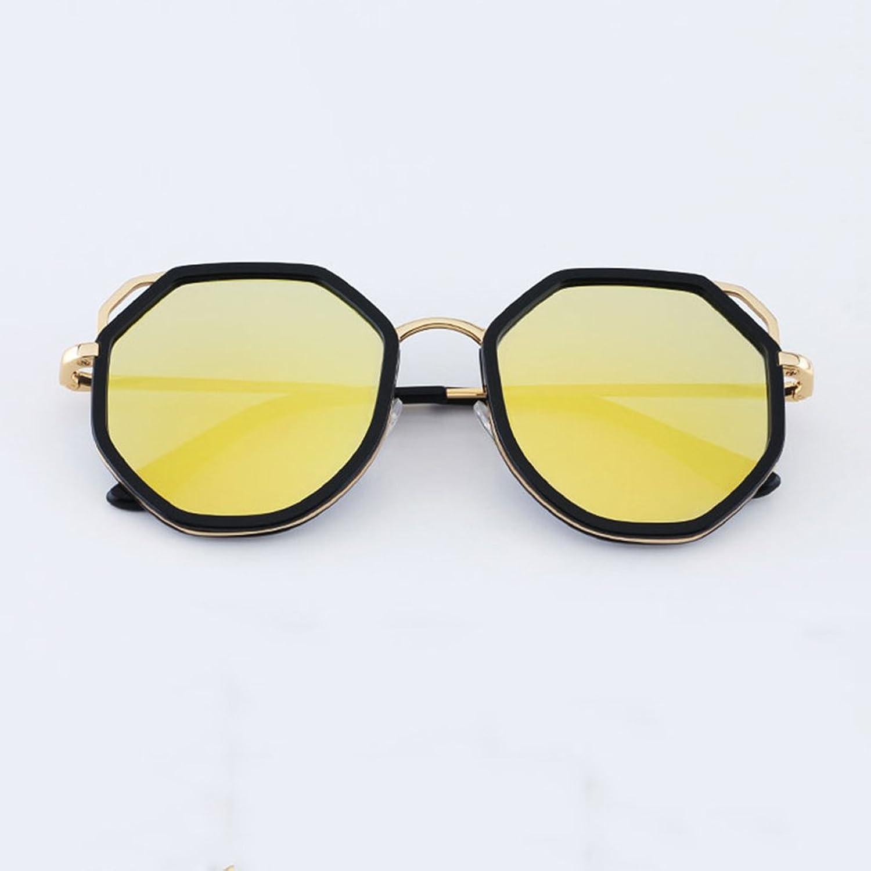 GAOYANG Irregular Polygonal Sunglasses Octagonal Personality Wild Cat Eye Bright Sunglasses ( color   Black box pink gold )