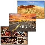 GREAT ART 3er Set XXL Poster – Route66 Set – Wüste