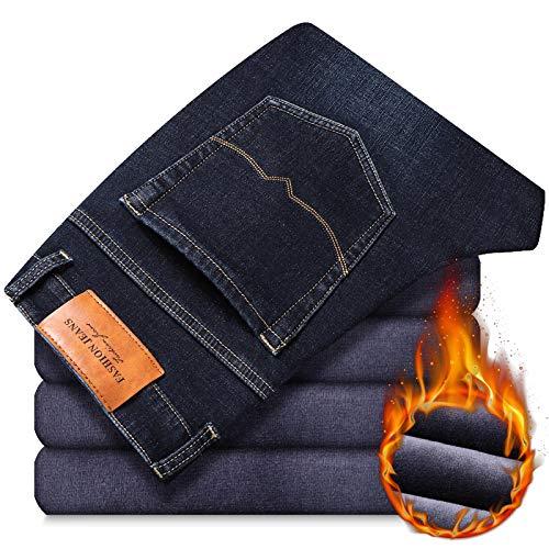 Vaqueros de Moda clásica Pantalones Vaqueros Azules Negros De Invierno para Hombre, Nuevos Pantalones Casuales De Negoci